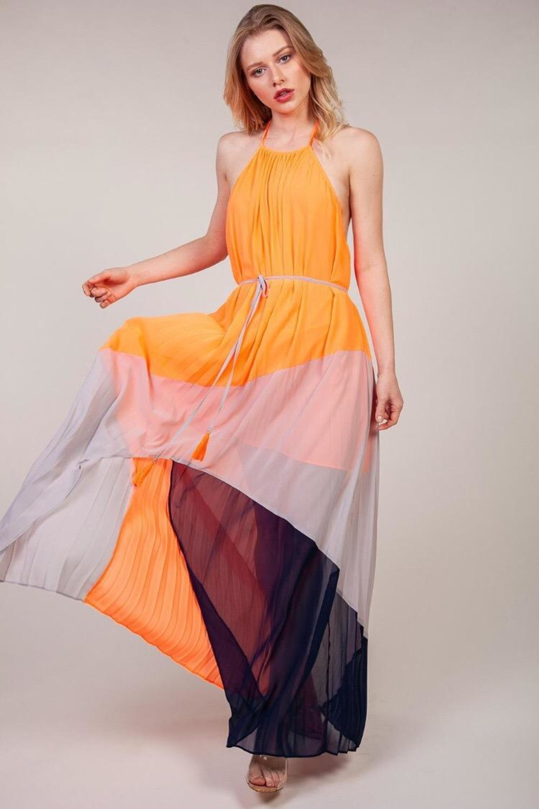 Latiste Multi-Colored Halter Dress - Front Cropped Image