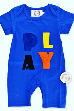 Shoptiques Product: Multi-Colored Jumpsuit with Bubble Writing Blue