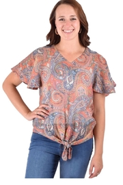 Ethyl Beaumont Multi-colored paisley top with tie knot front. - Product Mini Image
