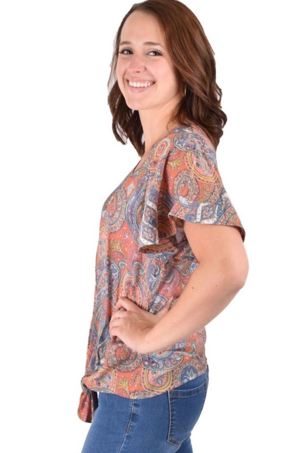 Ethyl Beaumont Multi-colored paisley top with tie knot front. - Front Full Image