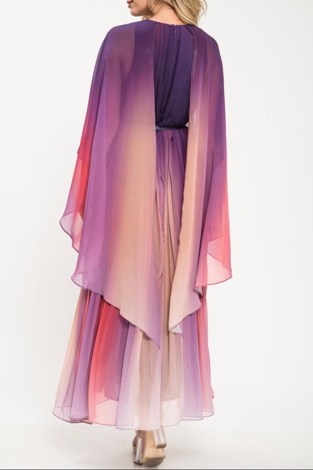 Latiste Multi-Colored Pleated Dress - Side Cropped Image
