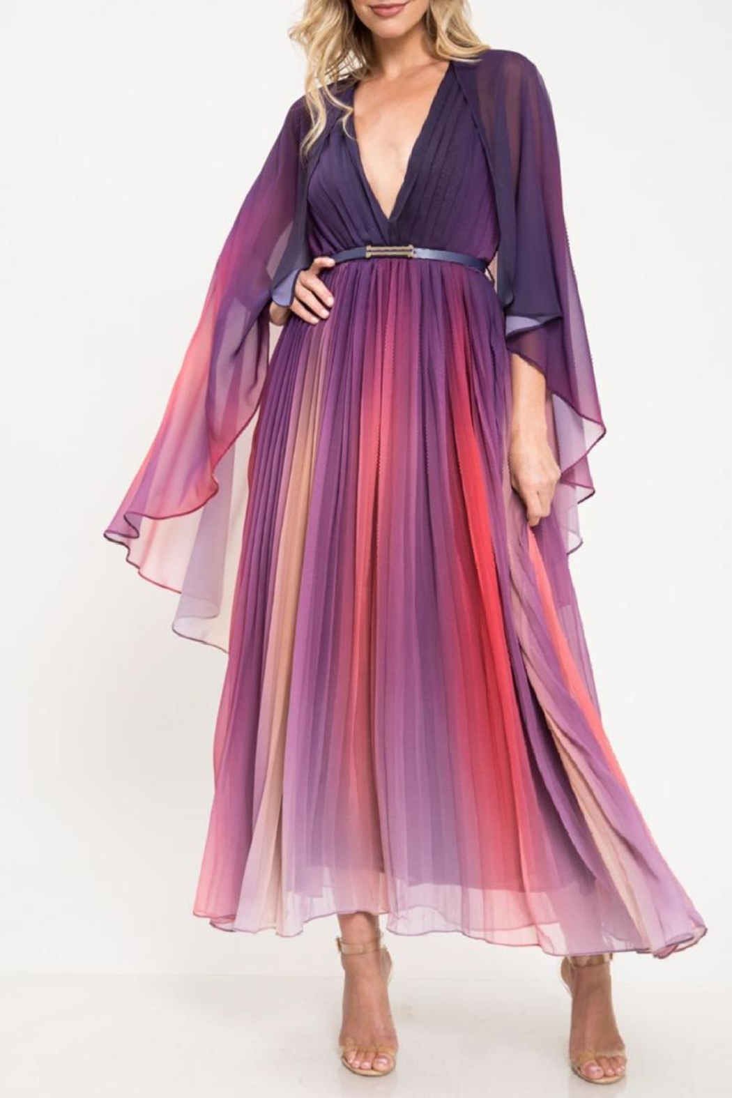 Latiste Multi-Colored Pleated Dress - Front Full Image