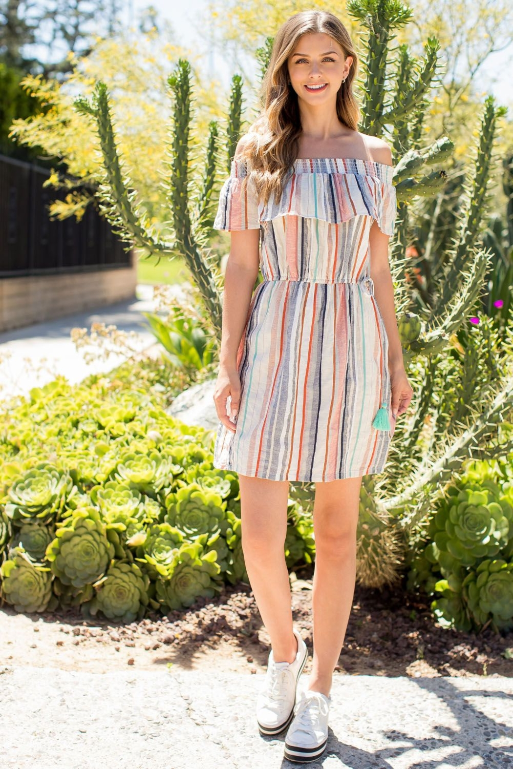 THML Clothing MULTI COLORED STRIP0E OFF SHOULDER DRESS - Main Image