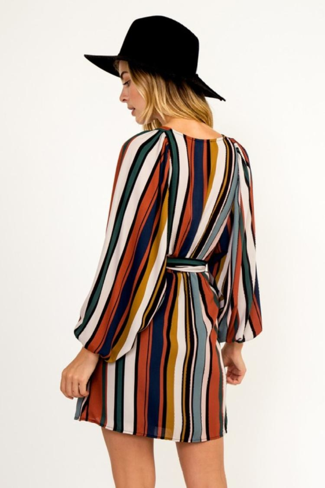 Olivaceous Multi-Colored Stripe Dress - Front Full Image