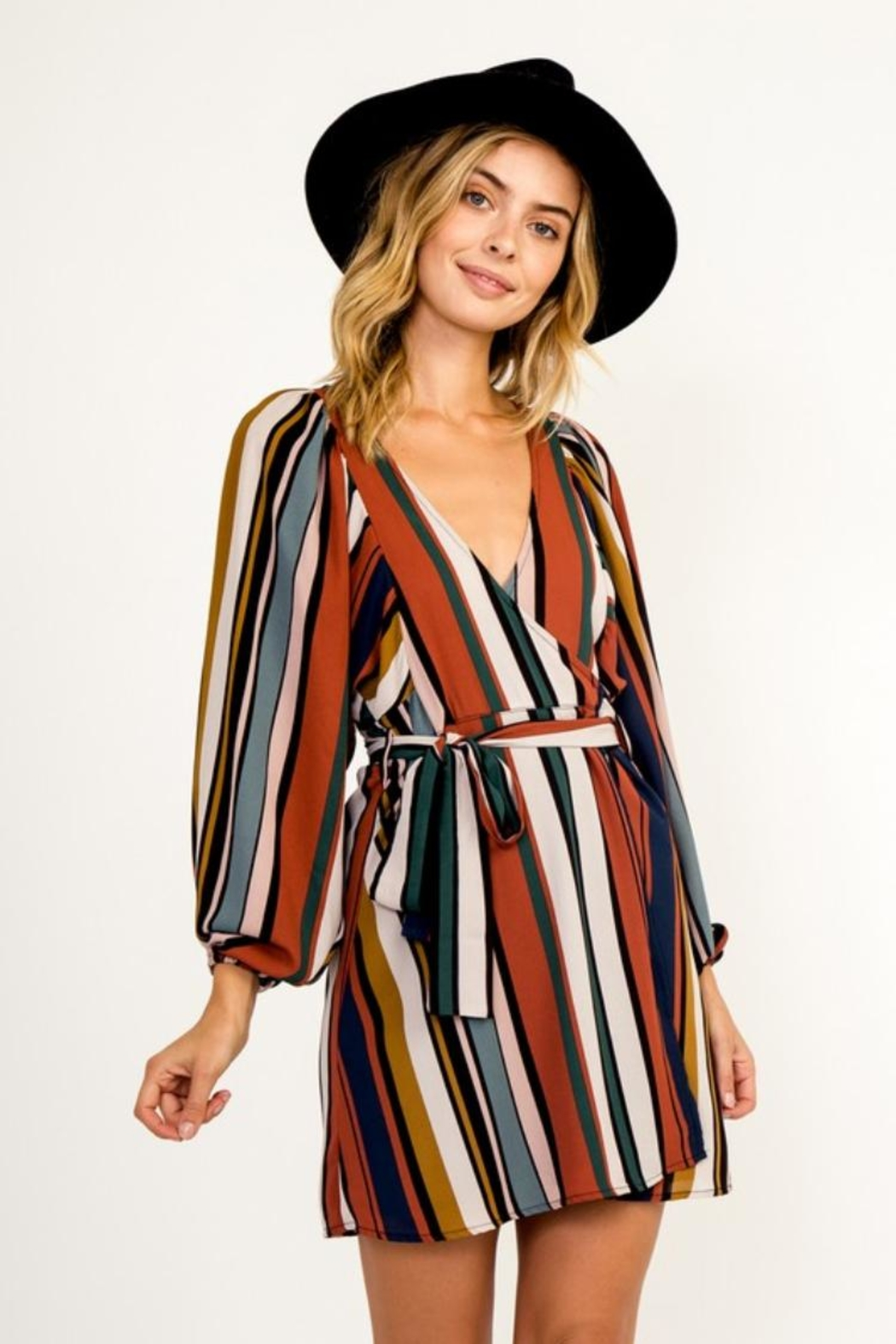 Olivaceous Multi-Colored Stripe Dress - Main Image