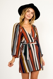 Olivaceous Multi-Colored Stripe Dress - Front cropped