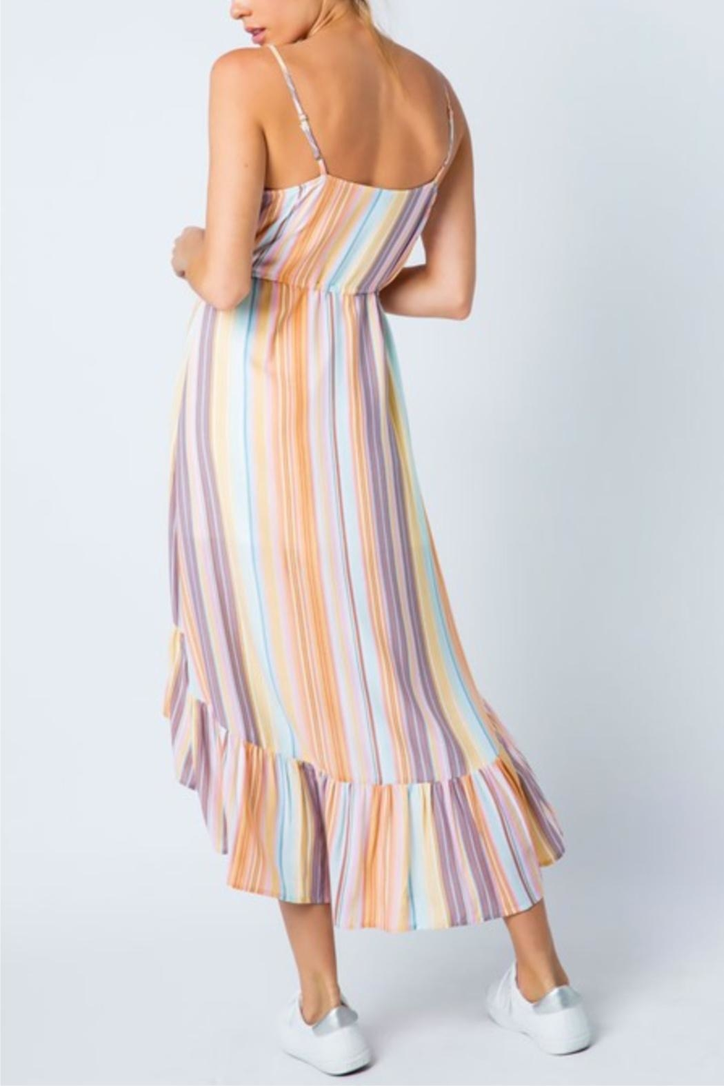 Cozy Casual Multi-Colored Stripe Dress - Front Full Image