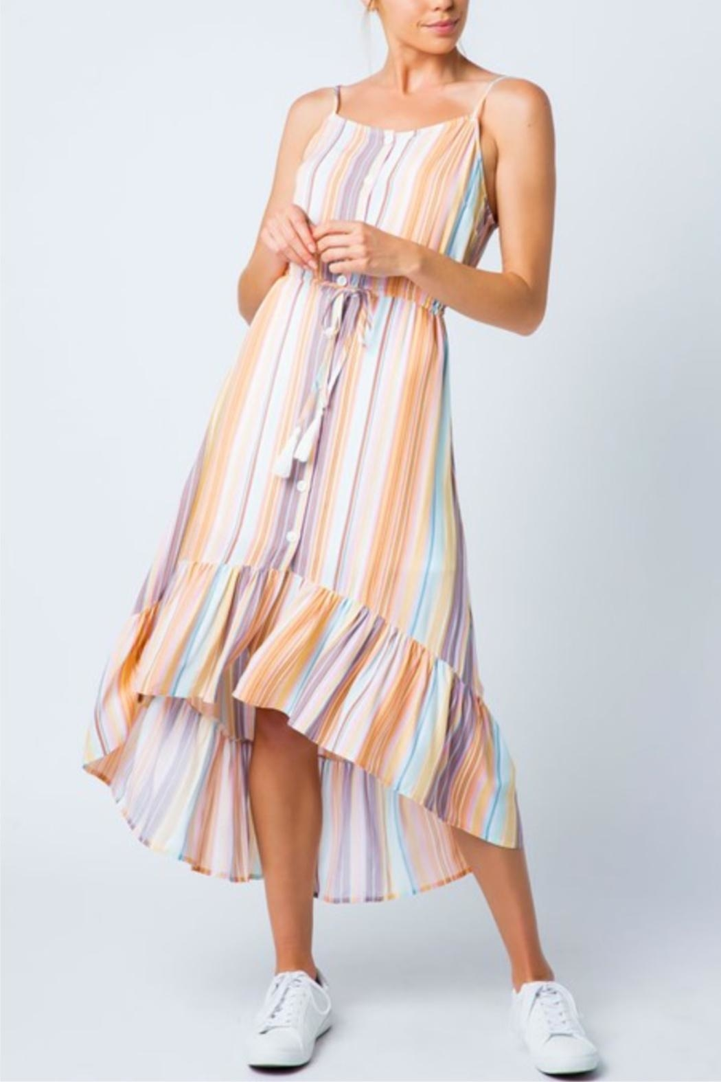 Cozy Casual Multi-Colored Stripe Dress - Main Image