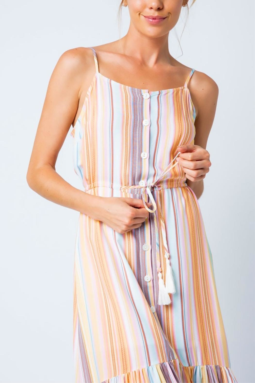 Cozy Casual Multi-Colored Stripe Dress - Back Cropped Image