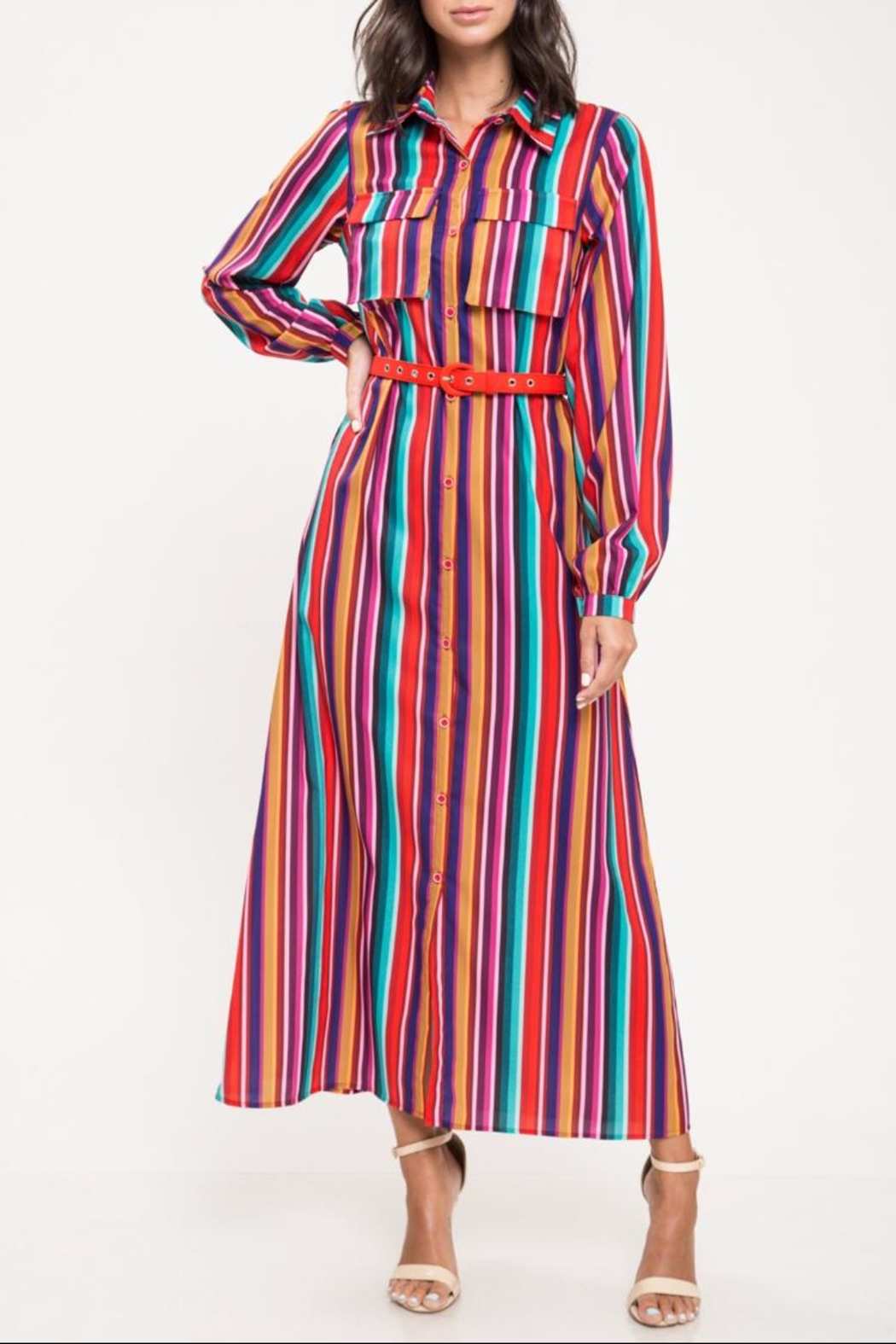 d4e7e339c5042 Latiste Multi-Colored Stripe Dress from Los Angeles by Chikas ...