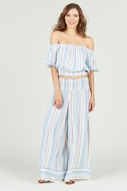Vintage Havana Multi Colored Stripe Printed Off Shoulder Bell Sleeve Cropped Top - Product Mini Image