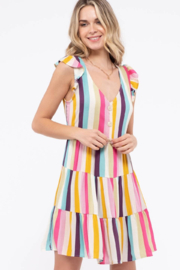 blue pepper  Multi-Colored Striped Tiered Woven Dress - Product Mini Image