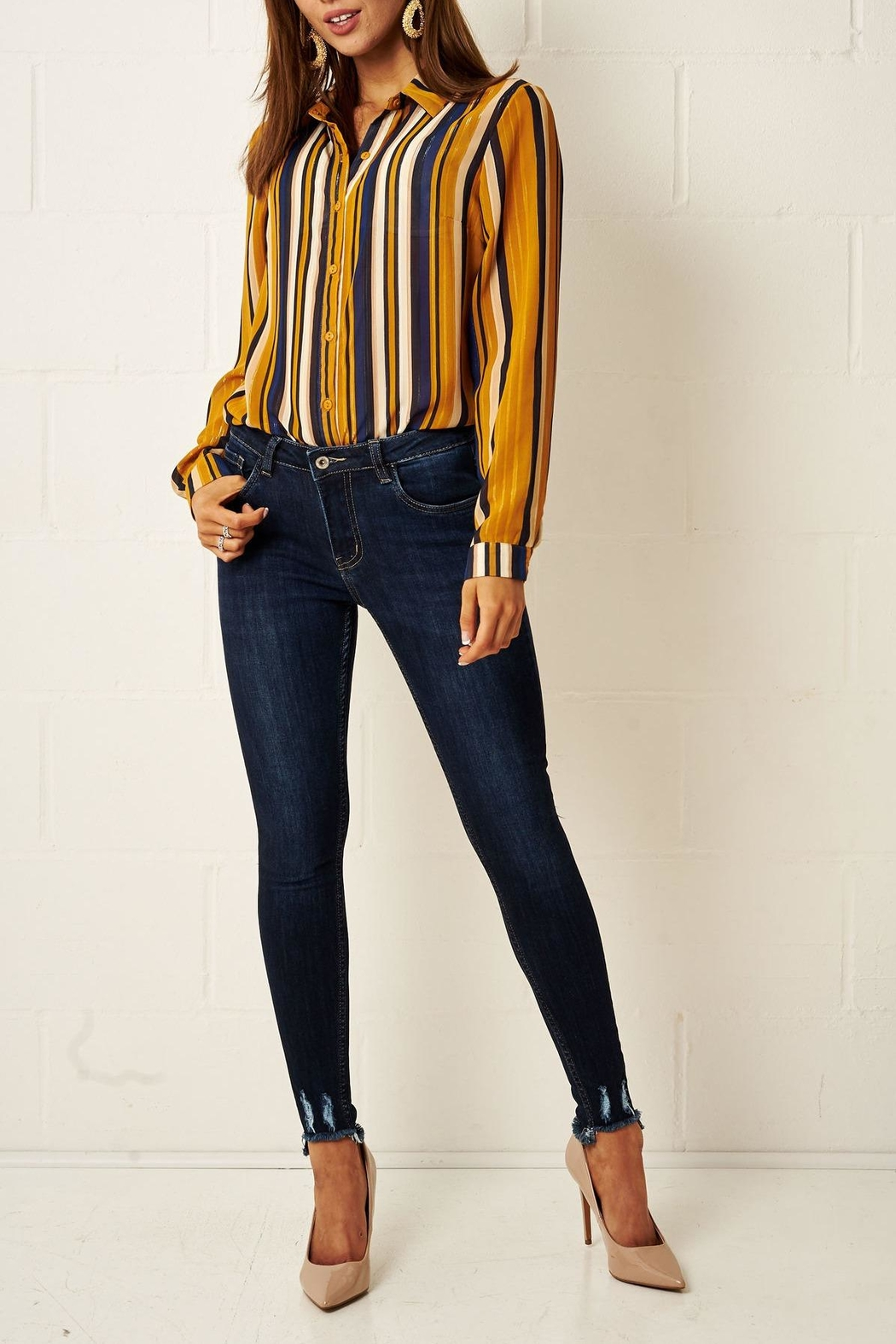 frontrow Multi-Colour Striped Shirt - Side Cropped Image