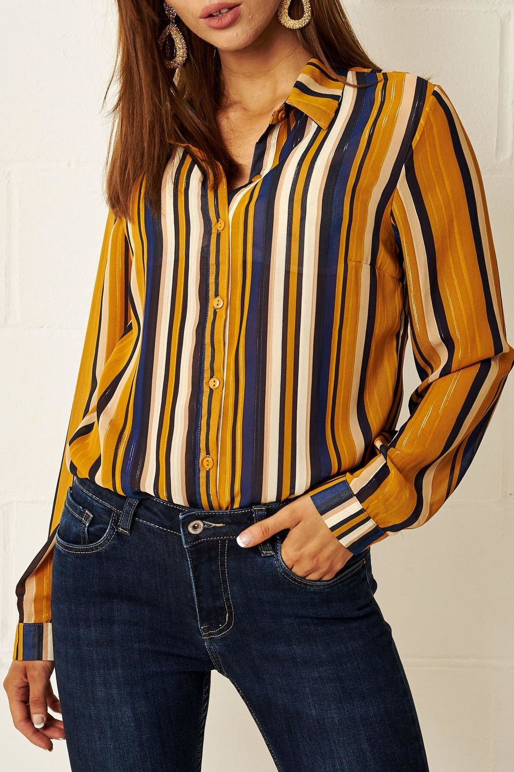 94aef5668efa02 frontrow Multi-Colour Striped Shirt from Essex by Frontrow — Shoptiques