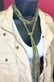 Rush by Denis & Charles Multi Crystal & Suede Necklace - Front full body