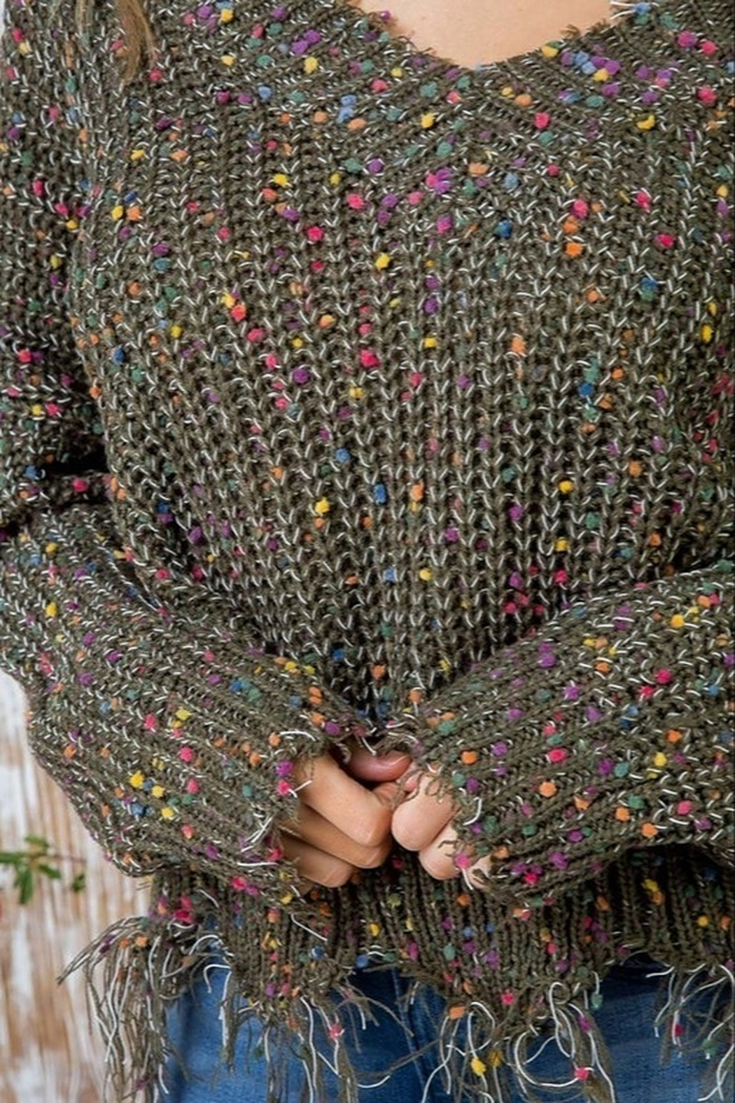 Main Strip Multi-Dot Distresses Sweater - Side Cropped Image
