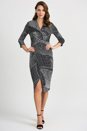 Joseph Ribkoff Multi Dot Fitted Dress, Black/White - Product Mini Image