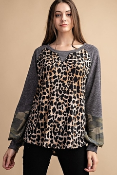 FSL Apparel Multi Fabric Contrast Tunic Top - Product List Image