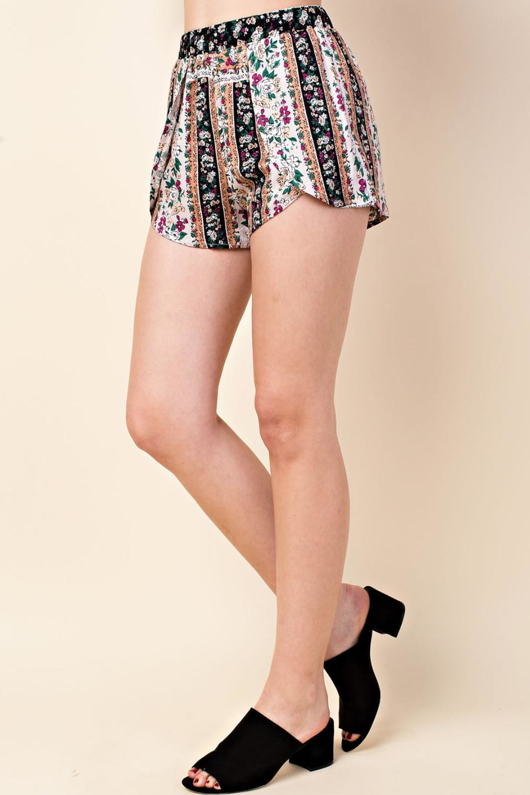 Wild Honey Multi-Floral Pattern Shorts - Front Full Image