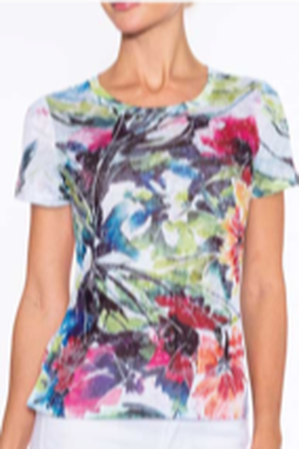 Alison Sheri multi floral scoop neck Tee - Main Image