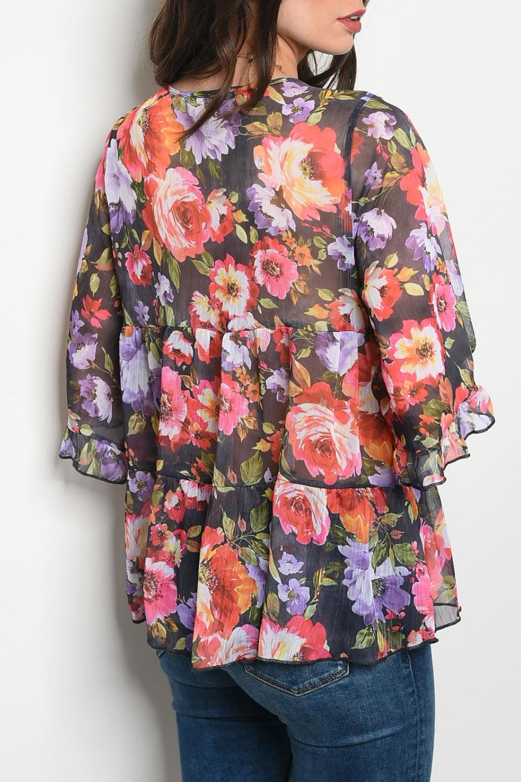 easel Multi Floral Top - Front Full Image