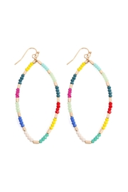 Riah Fashion Multi-Glass-Beads Marquise-Hook-Earrings - Product Mini Image
