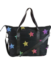 Top Trenz Multi Glitter Star Puffer Tote Weekender Bag - Product Mini Image