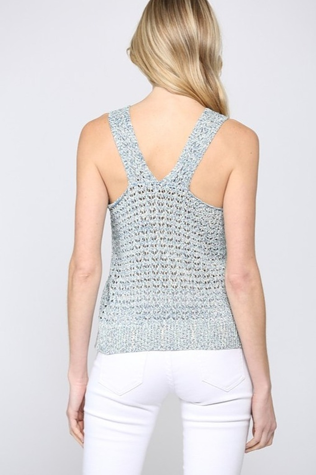 Fate Multi Knit V Neck Sweater Tank Top - Front Full Image