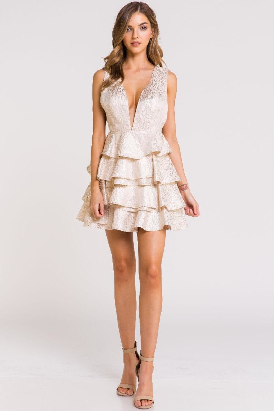 Blithe  Multi-Layered Gold Dress - Front Cropped Image