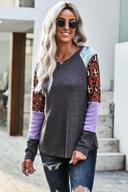 Shewin Multi Print Color-block Sleeves Waffle Knit Top - Product Mini Image