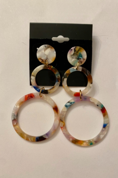 tesoro  Multi Resin Dangle Hoop Earrings - Alternate List Image