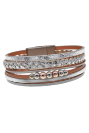 Accessoritzit Multi Row Leather Bracelet with Beads and Braided Silver - Product Mini Image