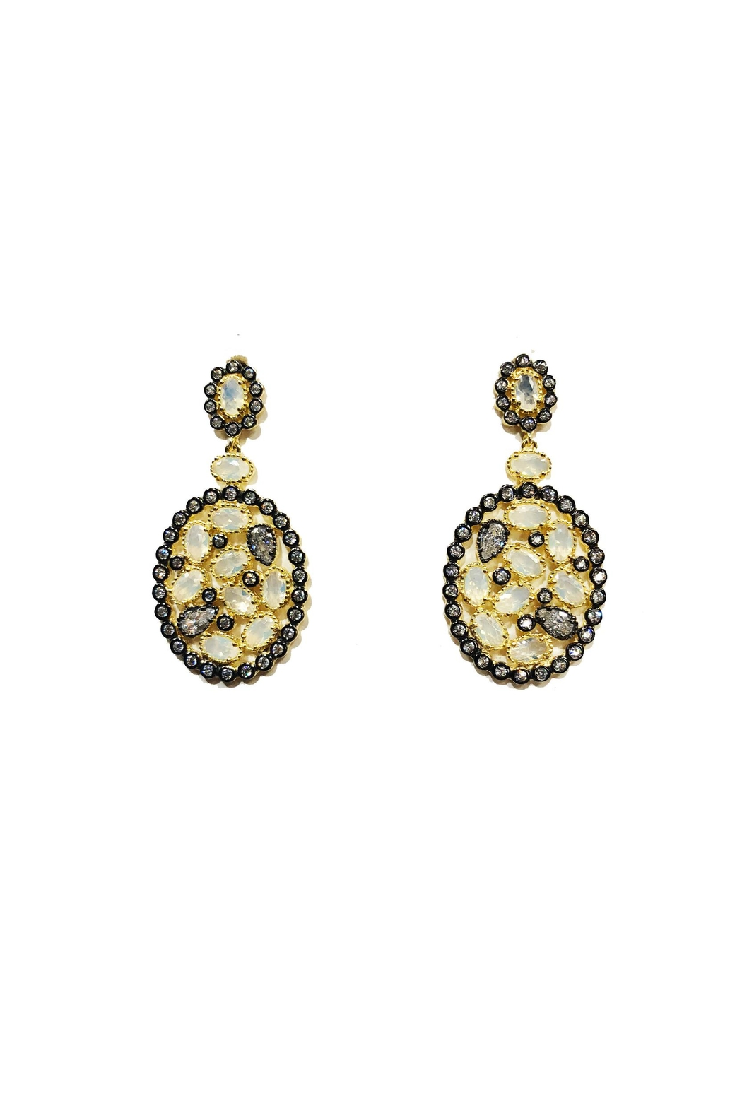 Lets Accessorize Multi-Stone Drop Earrings - Front Cropped Image