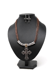 Nadya's Closet Multi String Cross-Necklace - Product Mini Image
