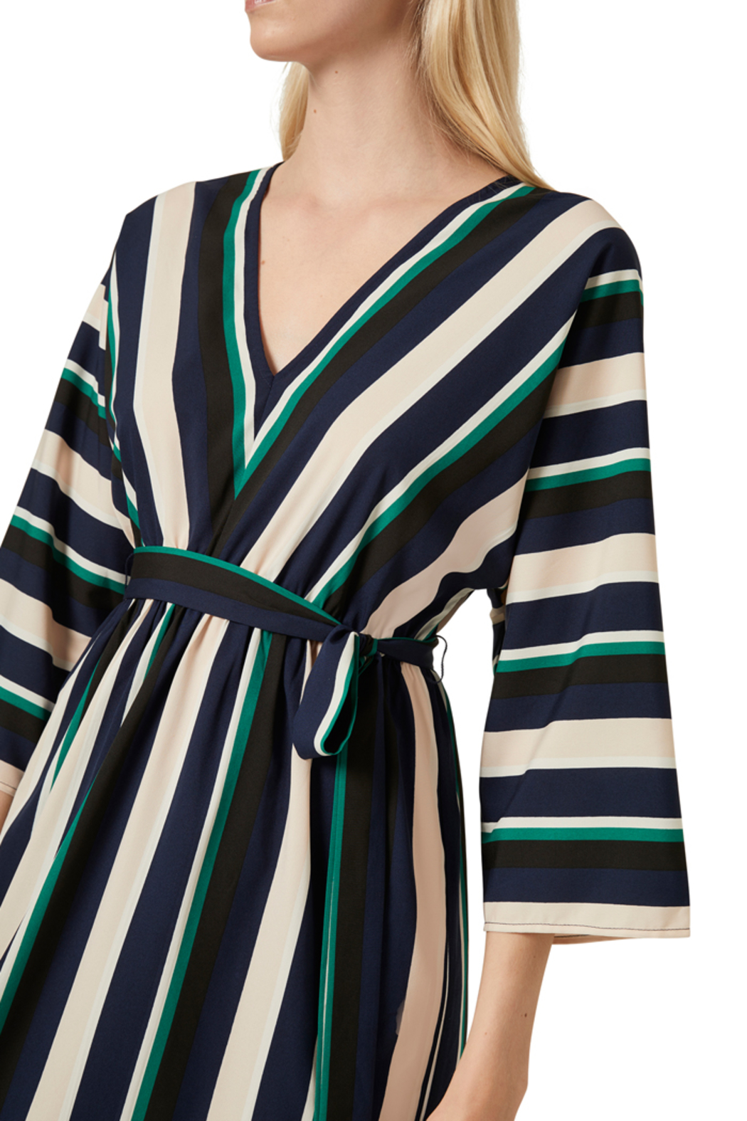 French Connection MULTI STRIPE BELTED DRESS - Side Cropped Image