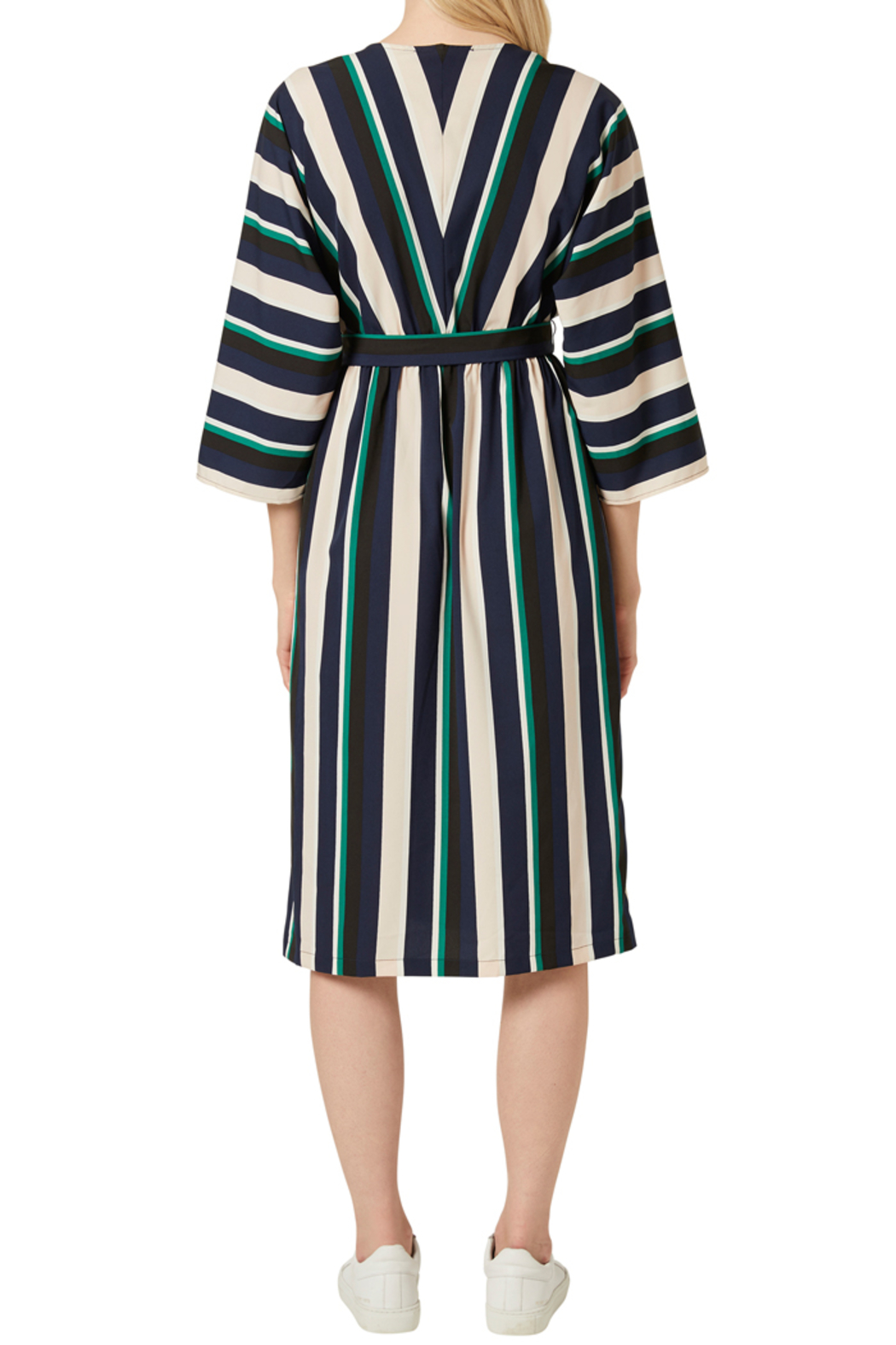 French Connection MULTI STRIPE BELTED DRESS - Back Cropped Image