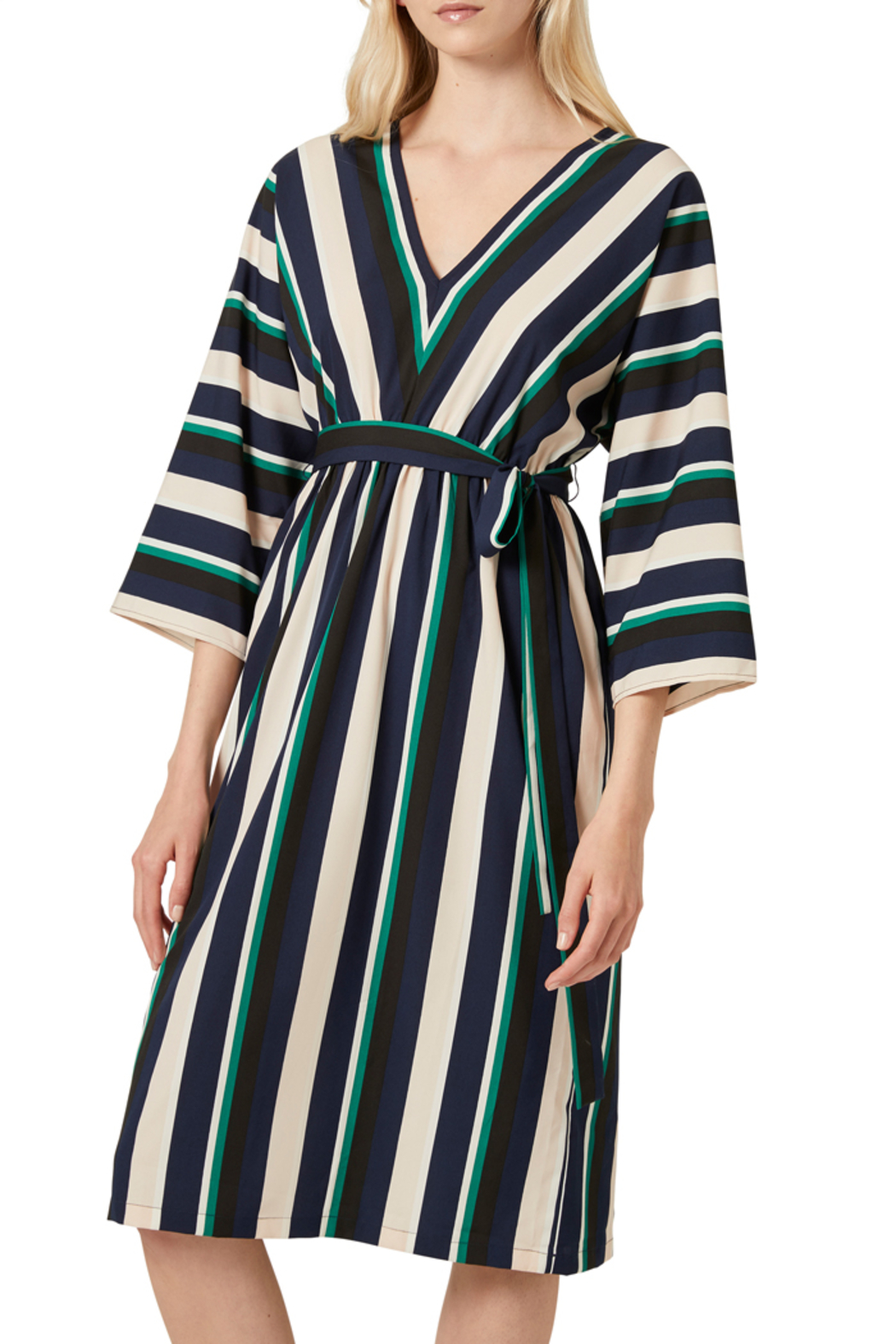 French Connection MULTI STRIPE BELTED DRESS - Front Full Image