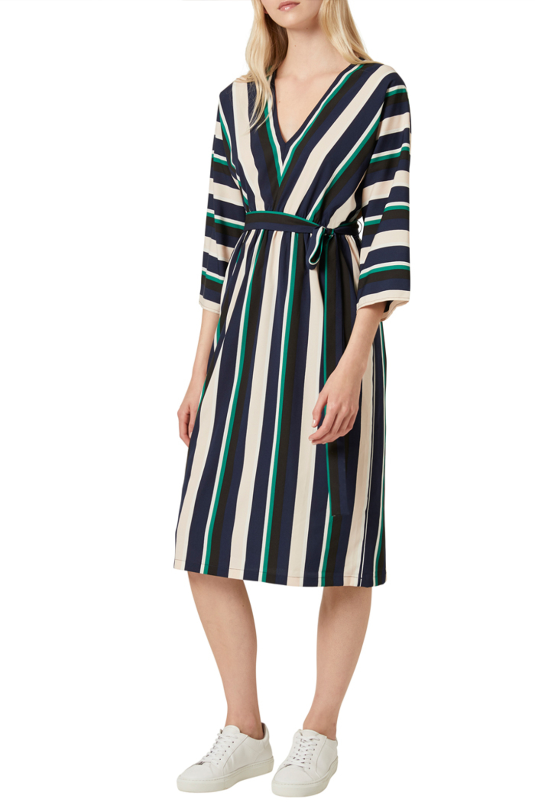 French Connection MULTI STRIPE BELTED DRESS - Main Image