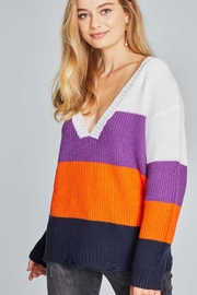 POL  Multi Stripe Distressed Sweater - Product Mini Image