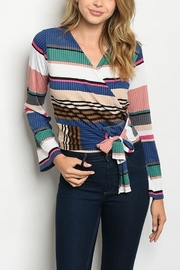 Lyn-Maree's  Multi Stripe Faux Wrap Top - Front cropped