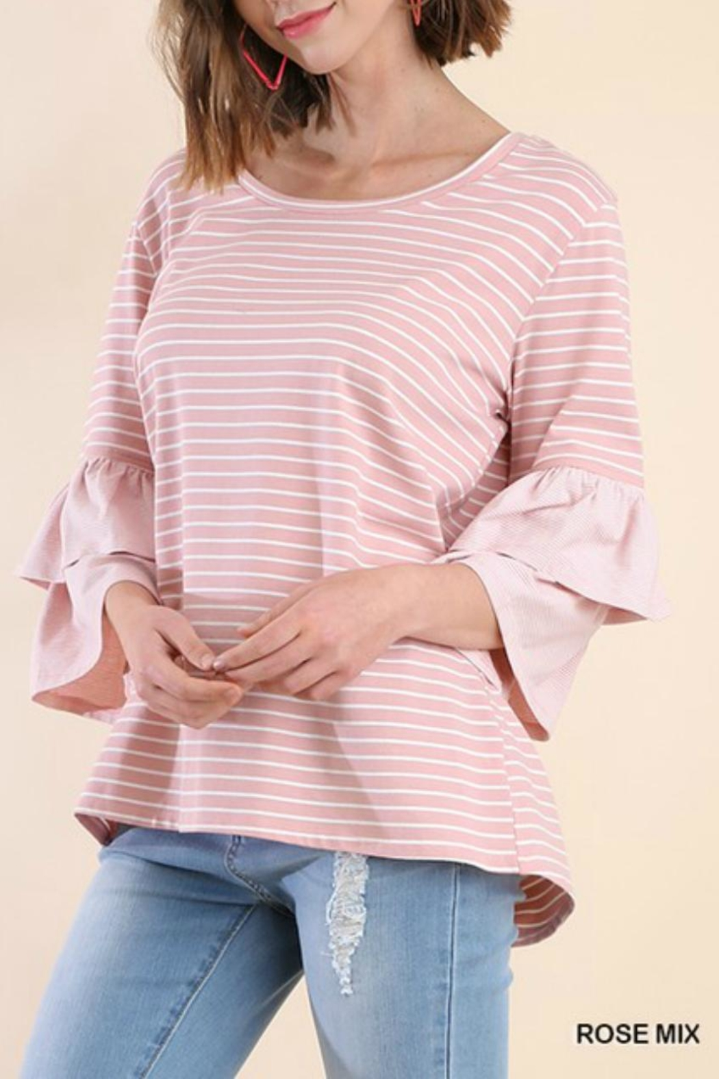 Umgee USA Multi-Stripe Layered-Sleeve Tee - Front Cropped Image