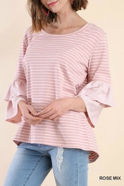 Umgee USA Multi-Stripe Layered-Sleeve Tee - Front cropped