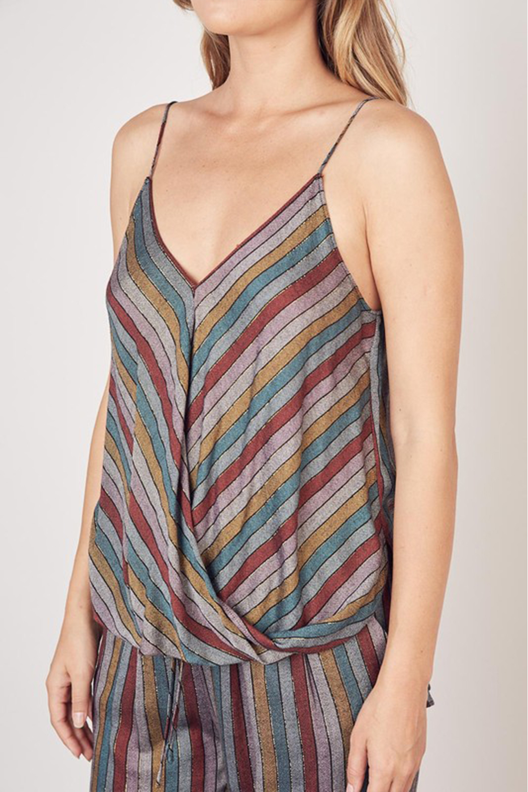Olivaceous  Multi Stripe Lurex Tank - Back Cropped Image