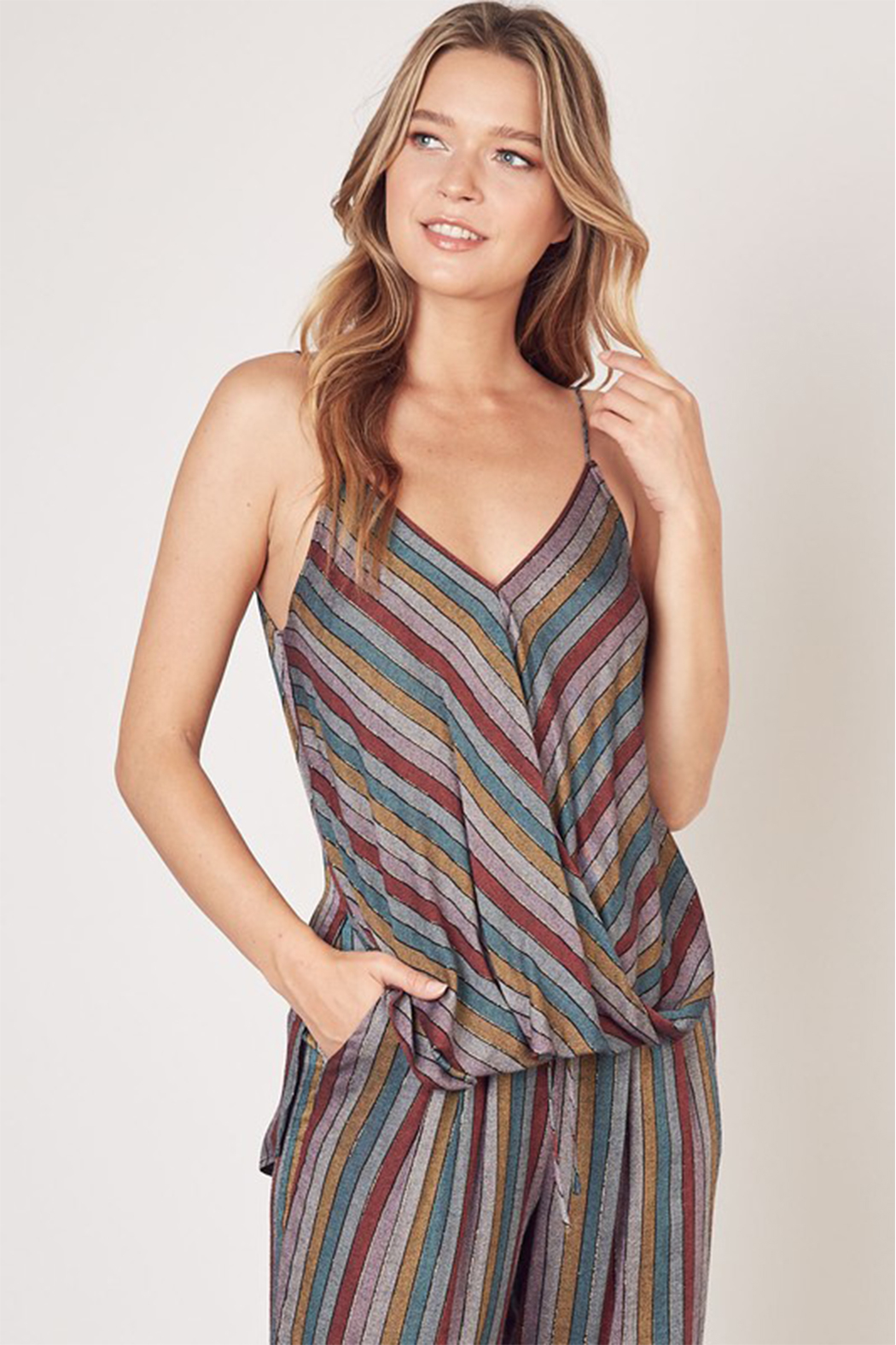 Olivaceous  Multi Stripe Lurex Tank - Front Cropped Image