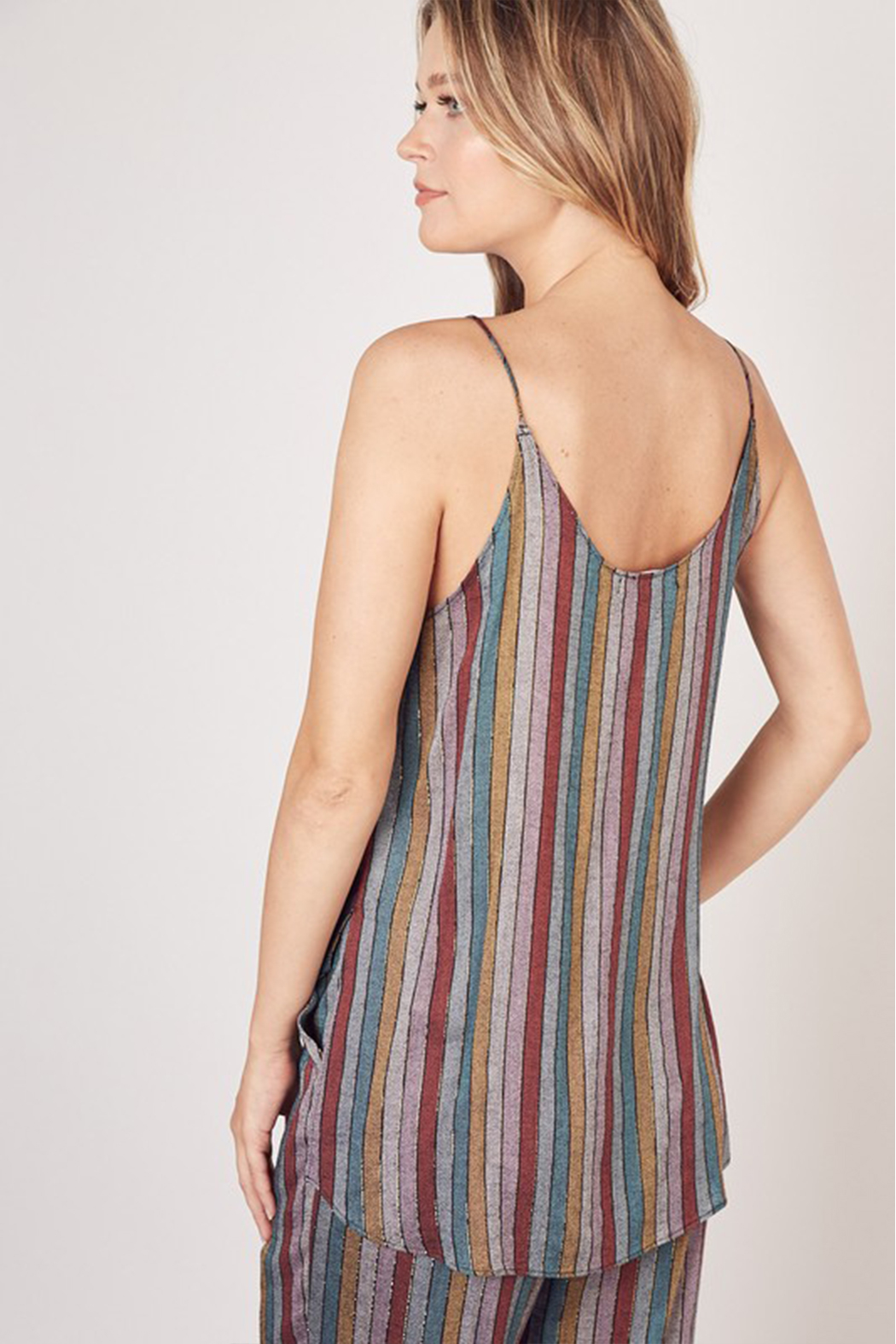 Olivaceous  Multi Stripe Lurex Tank - Side Cropped Image