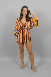 Honey Punch Multi Stripe Romper - Front cropped