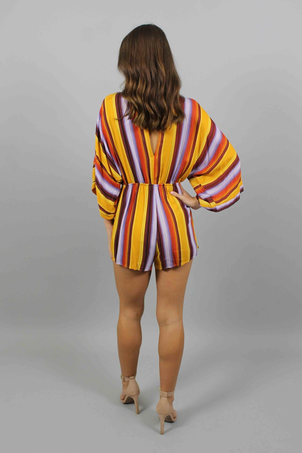 Honey Punch Multi Stripe Romper - Side Cropped Image