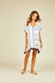 Surf Gypsy Multi Stripe Tassel Coverup - Product Mini Image