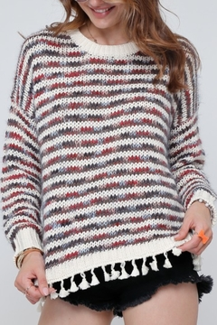 Adora Multi Stripe Tassel Sweater - Product List Image