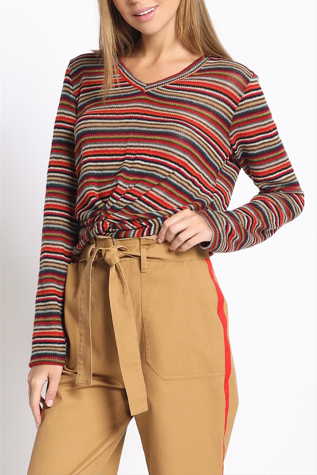 Sans Souci Multi-Stripe Twisted Top - Front Cropped Image
